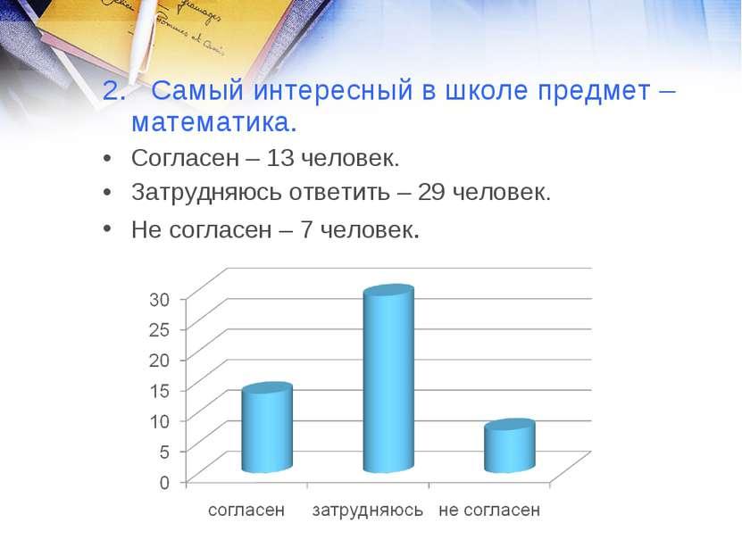 2. Самый интересный в школе предмет – математика. Согласен – 13 человек. Затр...