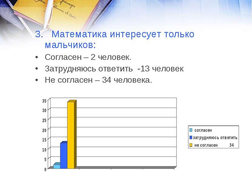 3. Математика интересует только мальчиков: Согласен – 2 человек. Затрудняюсь ...