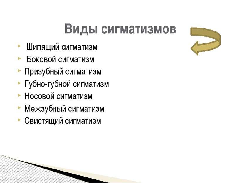 Шипящий сигматизм Боковой сигматизм Призубный сигматизм Губно-губной сигматиз...