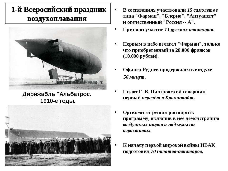 1-й Всеросийский праздник воздухоплавания В состязаниях участвовали 15 самоле...