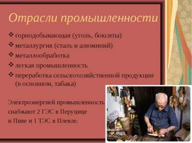 Отрасли промышленности горнодобывающая (уголь, бокситы) металлургия (сталь и ...
