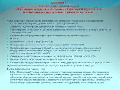 Заключение по итогам экспертизы направления «Организационно-правовое обеспече...