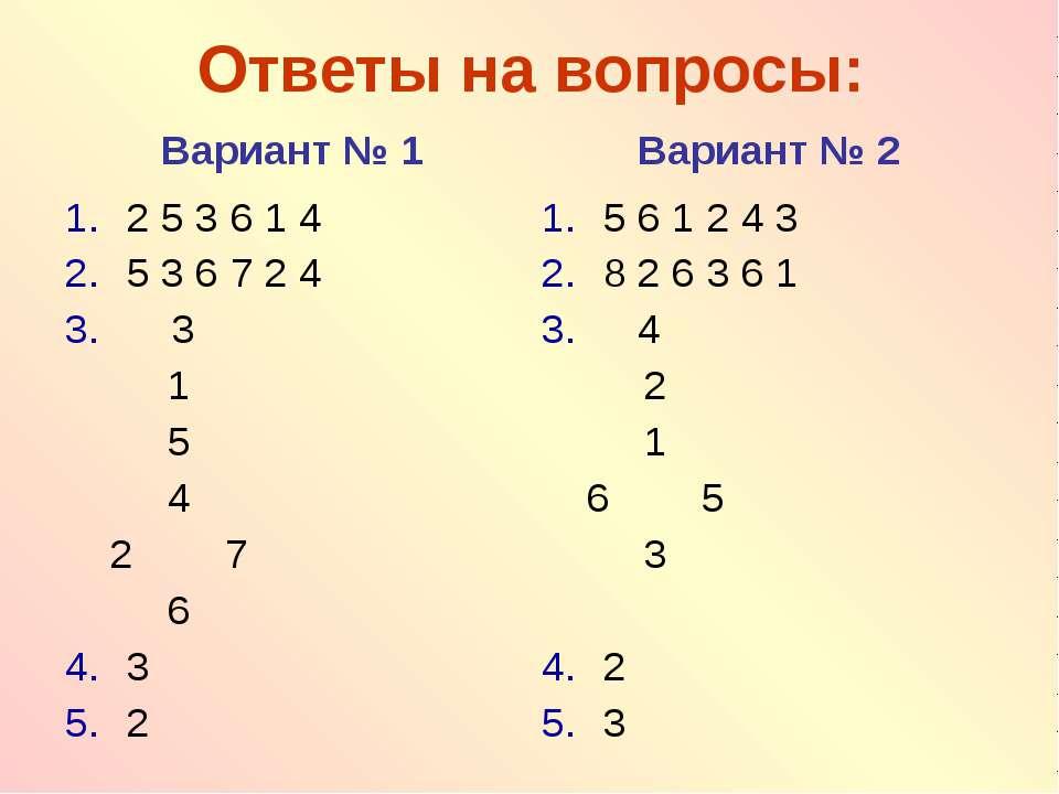 Ответы на вопросы: Вариант № 1 Вариант № 2 2 5 3 6 1 4 5 3 6 7 2 4 3 1 5 4 2 ...