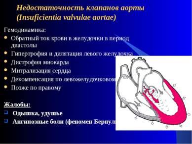 Недостаточность клапанов аорты (Insuficientia valvulae aortae) Гемодинамика: ...