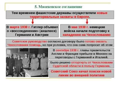 5. Мюнхенское соглашение Тем временем фашистские державы осуществляли новые т...