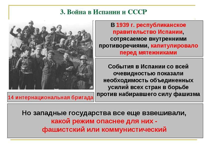 3. Война в Испании и СССР В 1939 г. республиканское правительство Испании, со...