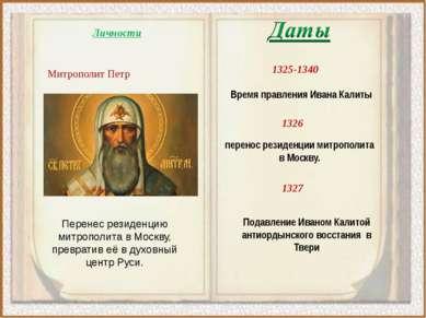 1326 перенос резиденции митрополита в Москву. 1325-1340 Время правления Ивана...