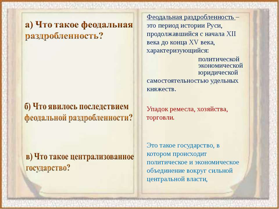 Феодальная раздробленность – это период истории Руси, продолжавшийся с начала...