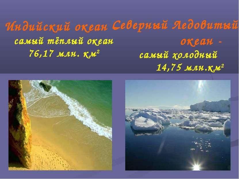 Индийский океан – самый тёплый океан 76,17 млн. км2 Северный Ледовитый океан ...