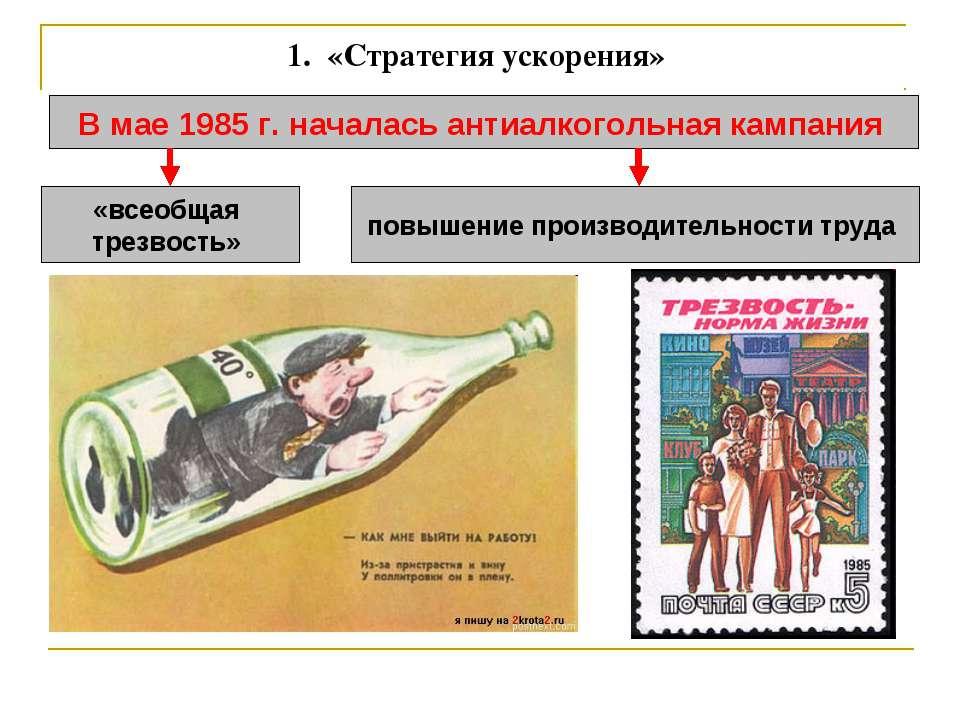 1. «Стратегия ускорения» В мае 1985 г. началась антиалкогольная кампания «вс...