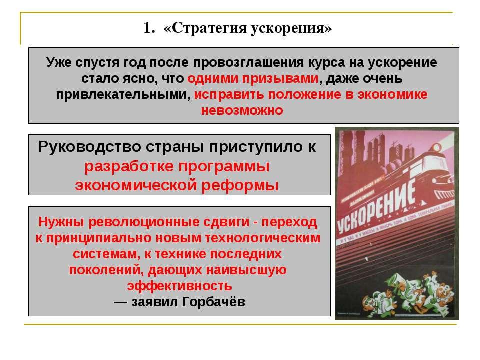 1. «Стратегия ускорения» Уже спустя год после провозглашения курса на ускоре...