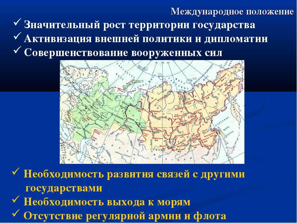 Международное положение Значительный рост территории государства Активизация ...