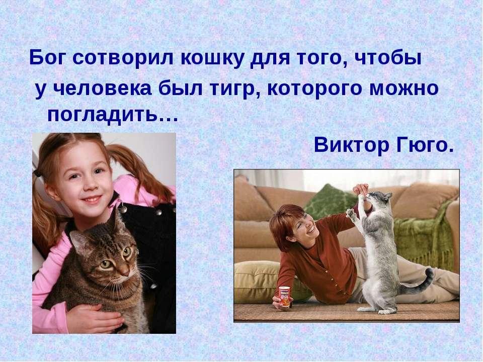 Бог сотворил кошку для того, чтобы у человека был тигр, которого можно поглад...