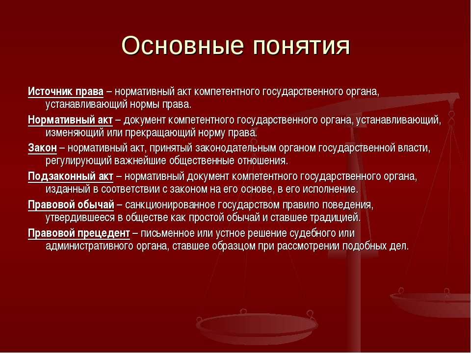 Основные понятия Источник права – нормативный акт компетентного государственн...