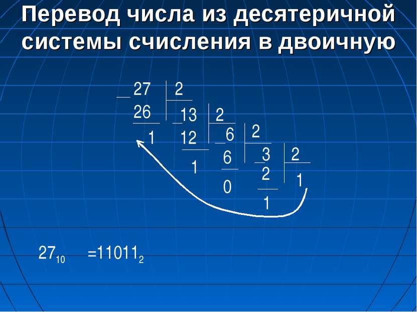 Перевод числа из десятеричной системы счисления в двоичную 27 2 13 26 1 2 6 1...