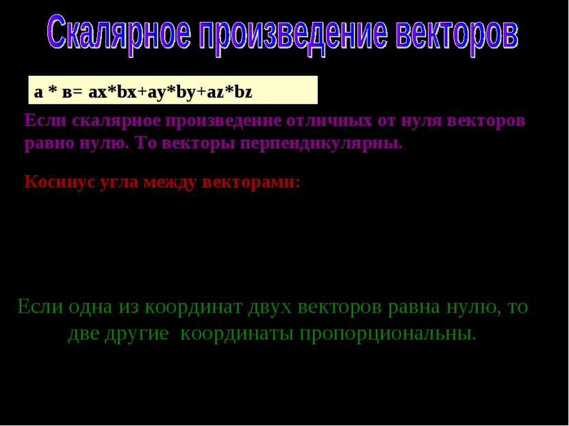а * в= ax*bx+ay*by+az*bz Если скалярное произведение отличных от нуля векторо...