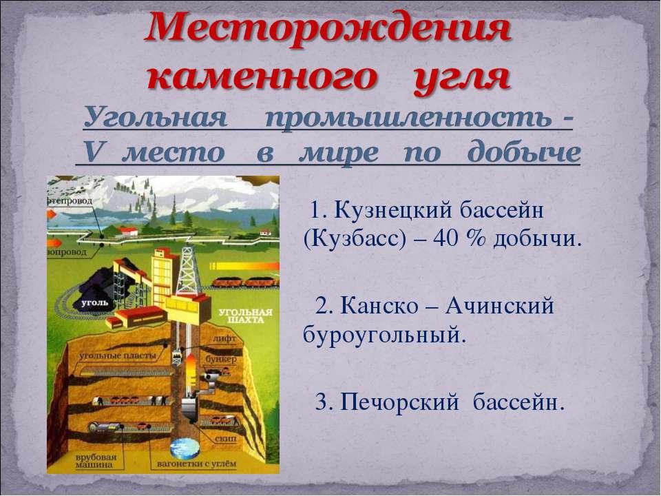 1. Кузнецкий бассейн (Кузбасс) – 40 % добычи. 2. Канско – Ачинский буроугольн...