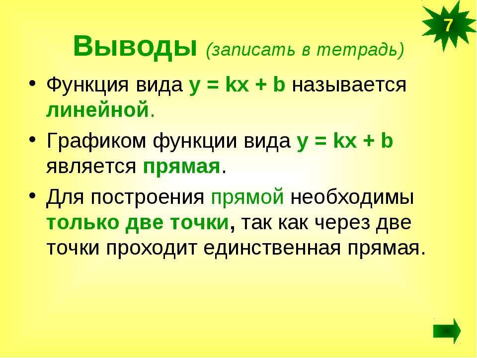 Выводы (записать в тетрадь) Функция вида у = kx + b называется линейной. Граф...