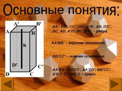 АА', BB', CC', DD', A'B', AB, D'C', DC, AD, A'D', BC, B'C' – ребра. AA'BB' – ...