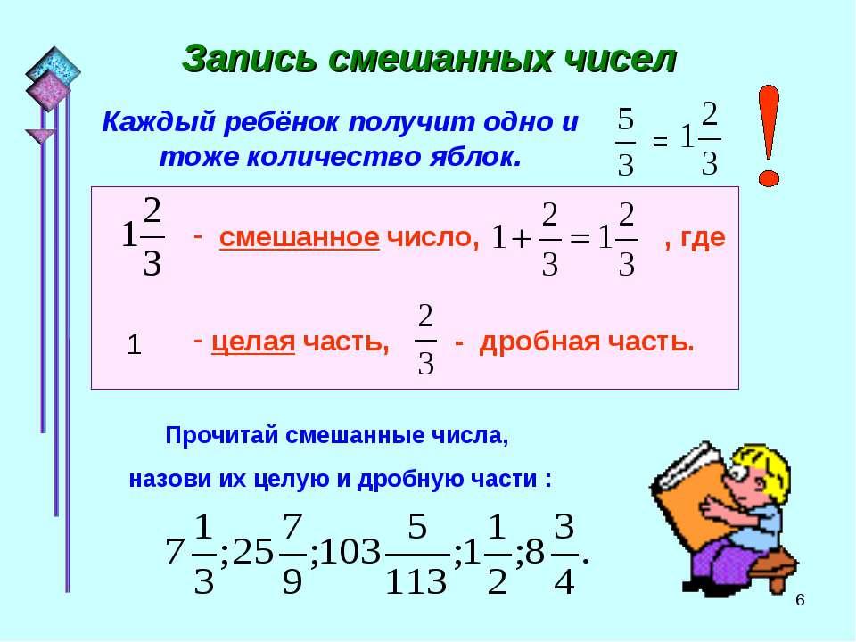 * Запись смешанных чисел Каждый ребёнок получит одно и тоже количество яблок....