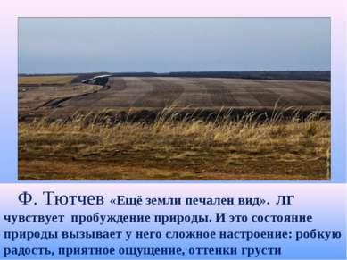 Ф. Тютчев «Ещё земли печален вид». ЛГ чувствует пробуждение природы. И это со...