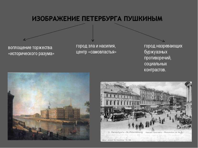 воплощение торжества «исторического разума» город зла и насилия, центр «самов...