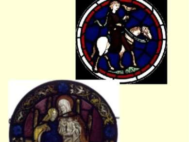 На витраже из собора в Бурже изображено начало притчи о блудном сыне.