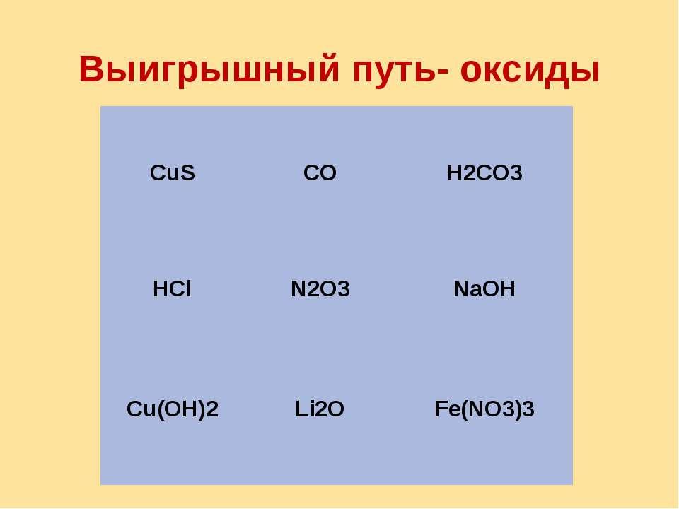 Выигрышный путь- оксиды CuS CO H2CO3 HCl N2O3 NaOH Cu(OH)2 Li2O Fe(NO3)3
