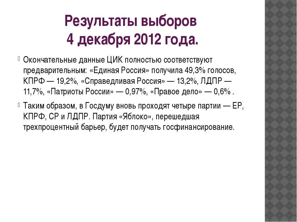Результаты выборов 4 декабря 2012 года. Окончательные данные ЦИК полностью со...