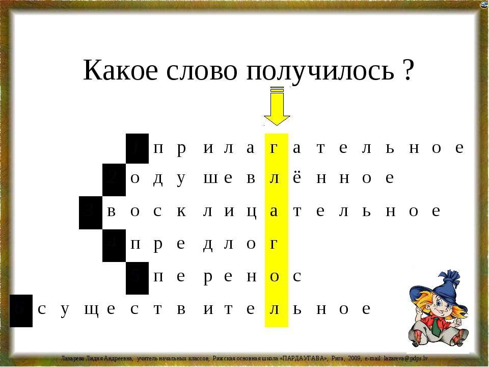 Какое слово получилось ? Лазарева Лидия Андреевна, учитель начальных классов,...
