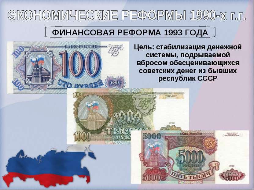 Цель: стабилизация денежной системы, подрываемой вбросом обесценивающихся сов...