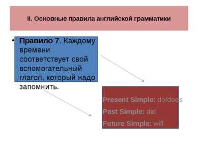 II. Основные правила английской грамматики Правило 7. Каждому времени соответ...