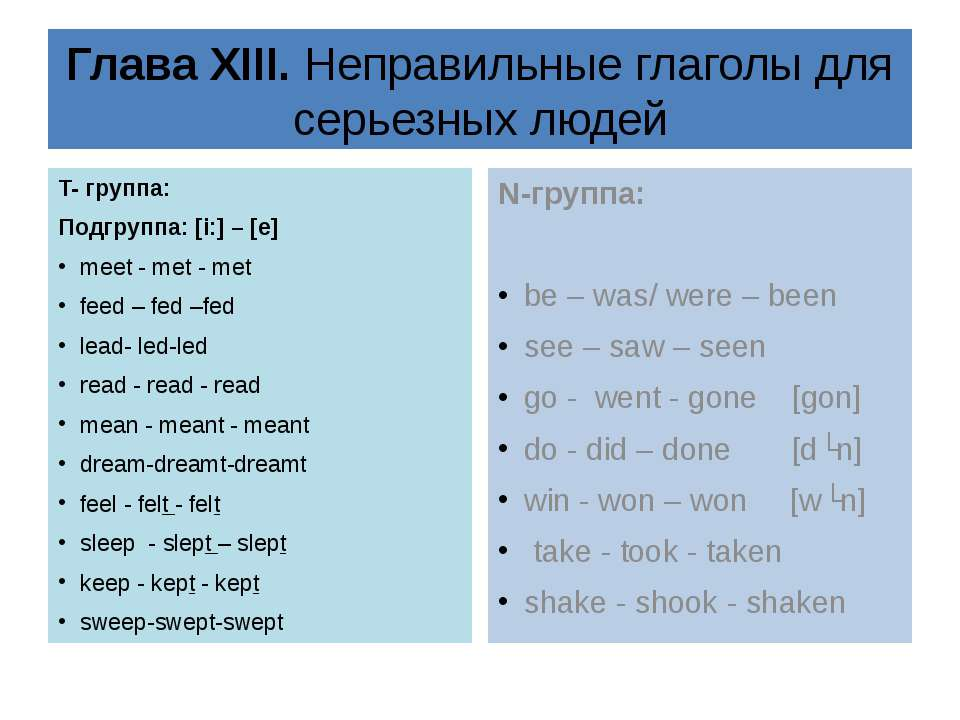 Глава XIII. Неправильные глаголы для серьезных людей T- группа: Подгруппа: [i...