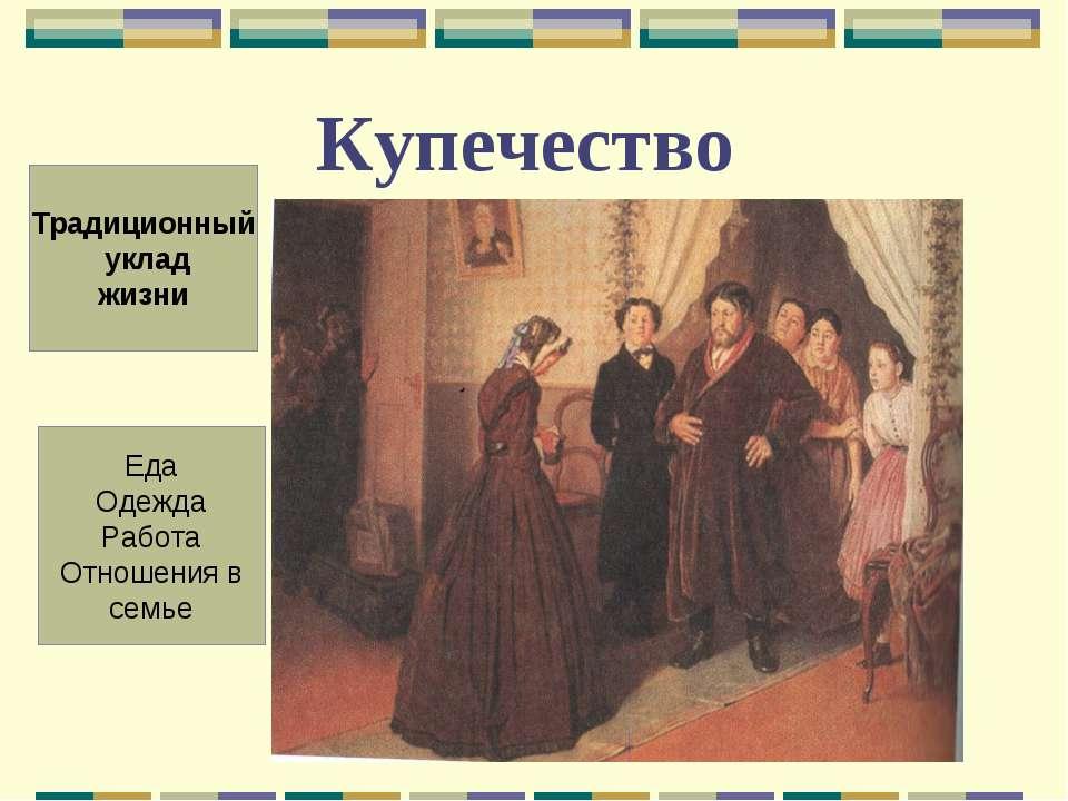 Купечество Традиционный уклад жизни Еда Одежда Работа Отношения в семье