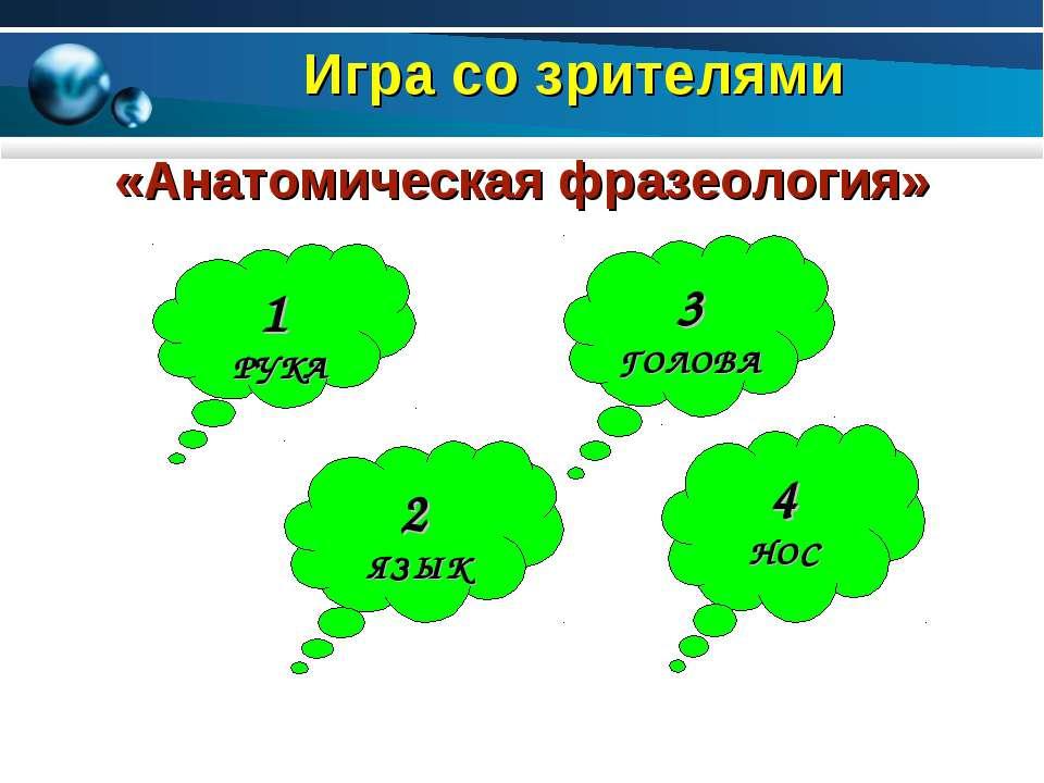 Игра со зрителями 1 РУКА 2 ЯЗЫК 3 ГОЛОВА 4 НОС «Анатомическая фразеология»