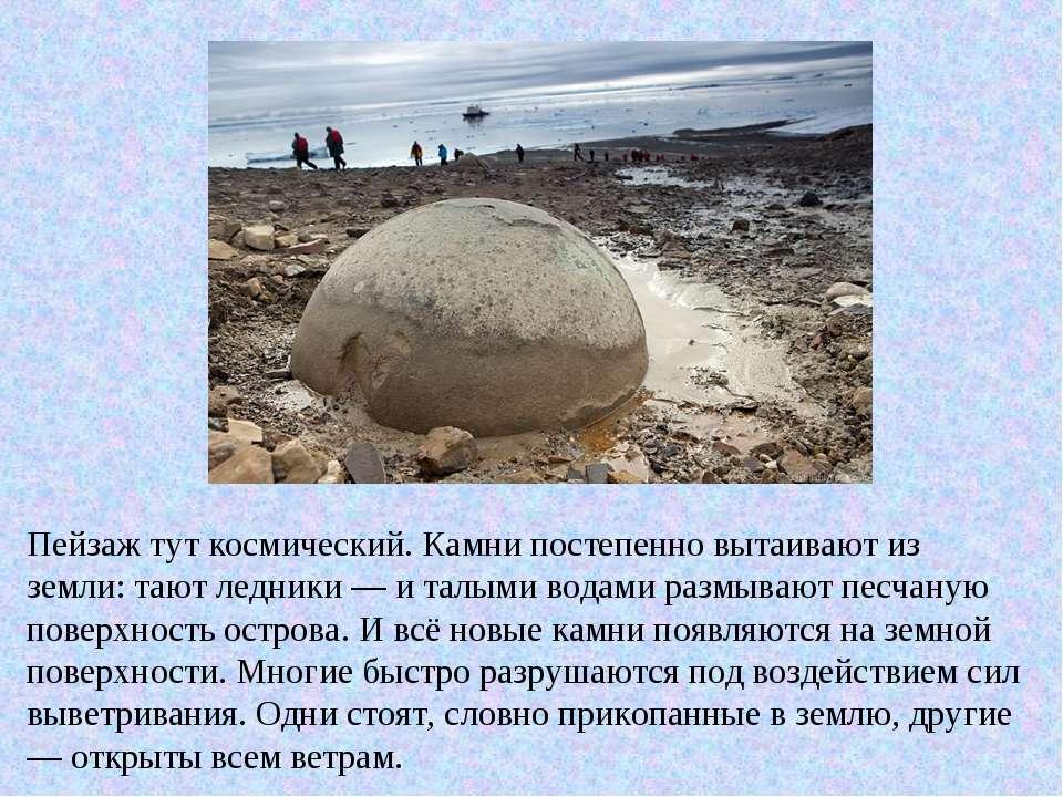 Пейзаж тут космический. Камни постепенно вытаивают из земли: тают ледники — и...