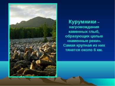 Курумники – нагромождения каменных глыб, образующих целые «каменные реки». Са...