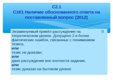 С2.1 С1К1 Наличие обоснованного ответа на поставленный вопрос (2012) Экзамену...