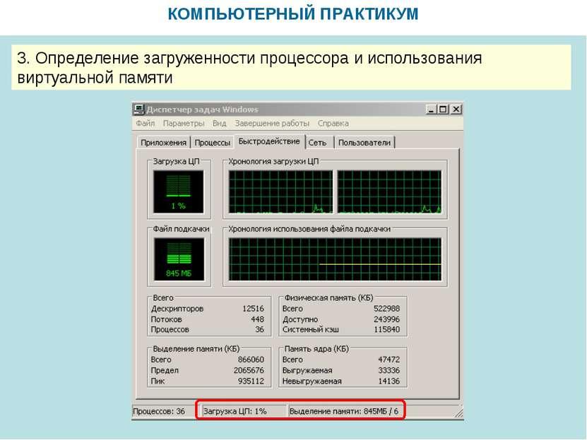 КОМПЬЮТЕРНЫЙ ПРАКТИКУМ 3. Определение загруженности процессора и использовани...