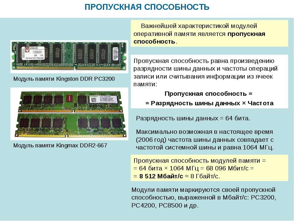 ПРОПУСКНАЯ СПОСОБНОСТЬ Модуль памяти Kingmax DDR2-667 Модуль памяти Kingston ...