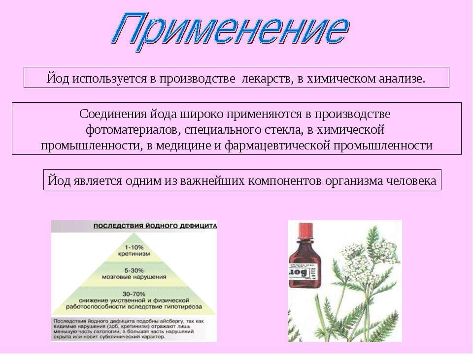 Йод используется в производстве лекарств, в химическом анализе. Соединения йо...