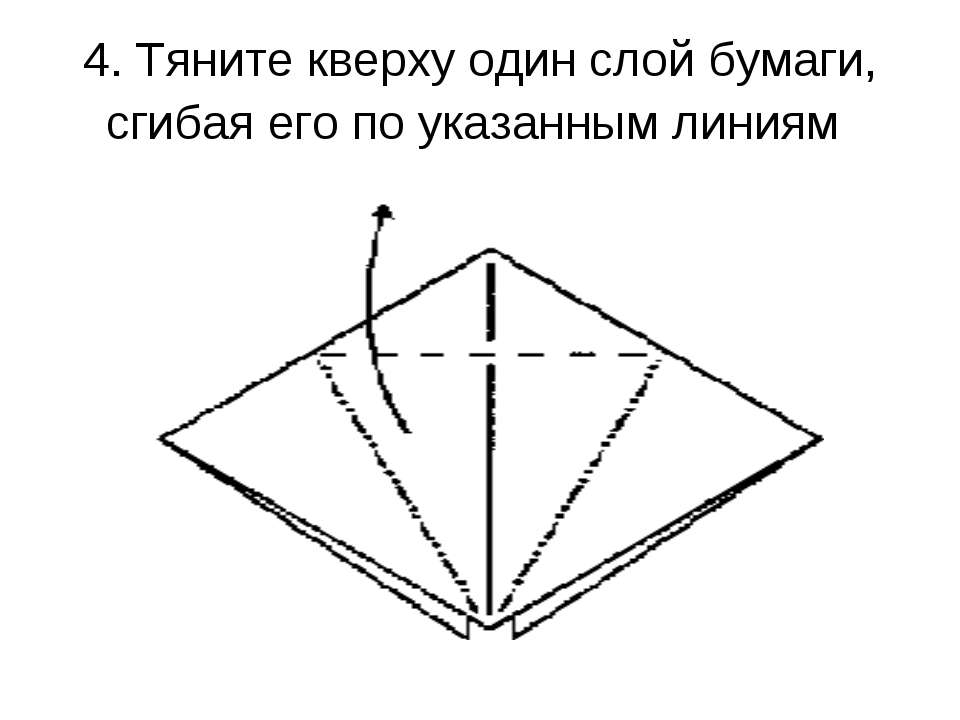 4. Тяните кверху один слой бумаги, сгибая его по указанным линиям