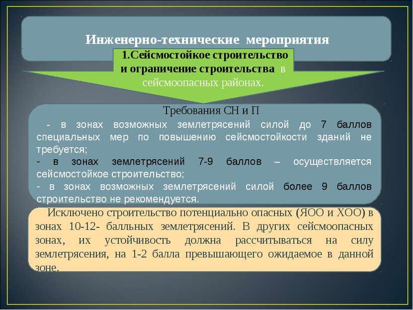 Инженерно-технические мероприятия Требования СН и П - в зонах возможных земле...
