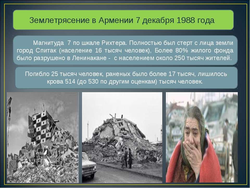 Землетрясение в Армении 7 декабря 1988 года Магнитуда 7 по шкале Рихтера. Пол...