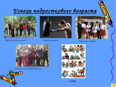 Успехи подросткового возраста Трудовая деятельность Занятия спортом Стремлени...