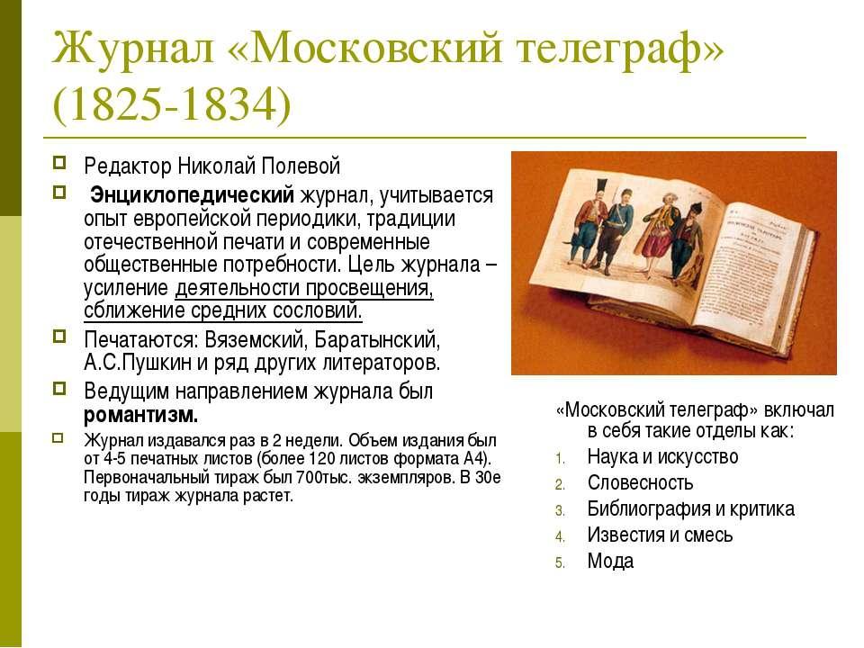 Журнал «Московский телеграф» (1825-1834) Редактор Николай Полевой Энциклопеди...