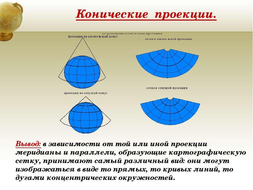Конические проекции. Вывод: в зависимости от той или иной проекции меридианы ...
