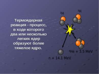 Термоядерная реакция - процесс, в ходе которого два или несколько легких ядер...