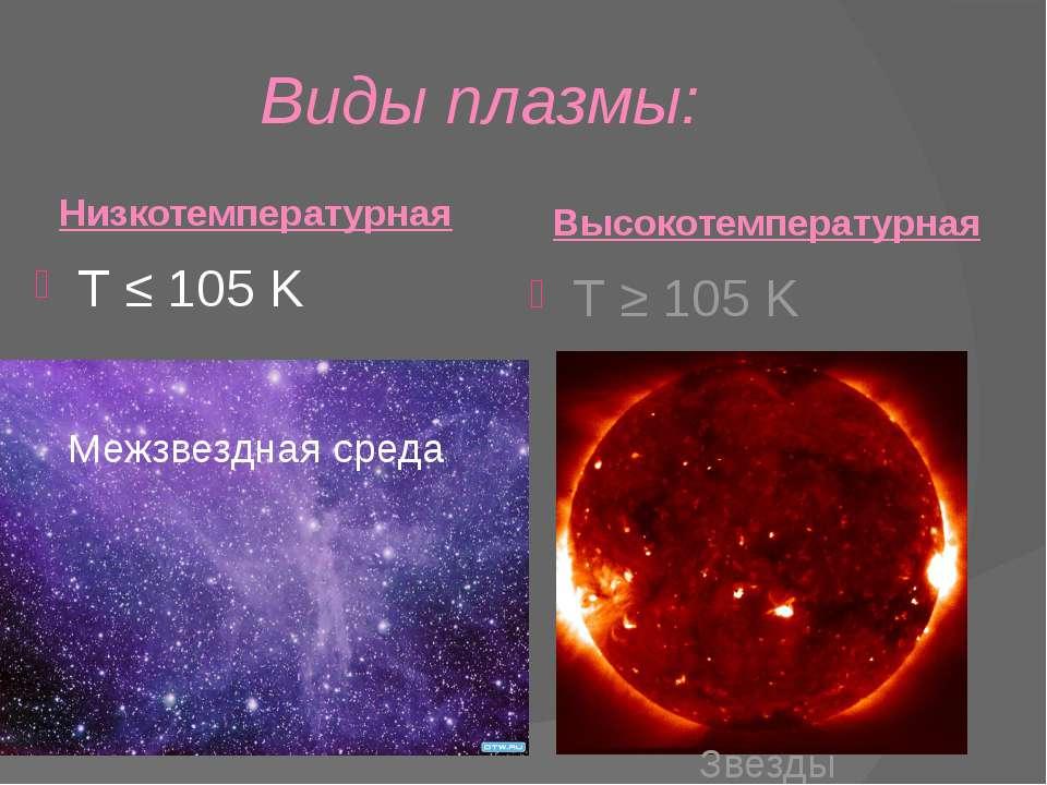 Виды плазмы: Низкотемпературная T ≤ 105 K Межзвездная среда Высокотемпературн...