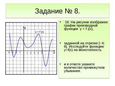 Задание № 8. 19. На рисунке изображен график производной функции y = f |(x), ...